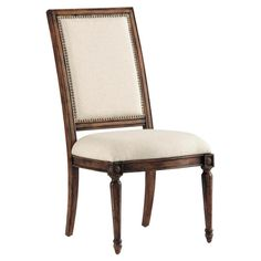 Brimming with elegant appeal, this Louis XVI-style side chair showcases fluted front legs and nailhead-trimmed upholstery.  Product: ...