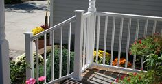 Titan Pro Stair Rail Kit by RDI installs in a breeze. All Titan Railing Available at Deck Expressions. Get the most competitive price for your project only at Deck Expressions. Exterior Stair Railing, Stair Railing Kits, Stair Kits, Outdoor Stair Railing, Deck Railing Design, Vinyl Railing, Deck Stairs, Deck Railings, Vinyl Deck