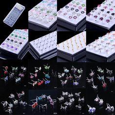 40pcs Fashion 925 Sterling Silver Crystal Gems Earrings Womens Ear Studs Jewelry