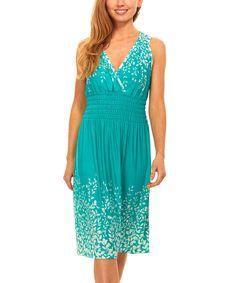 Green & White Leaf Smocked-Waist Surplice Dress
