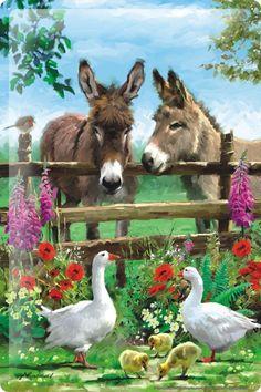Diamond Painting Cross Stitch donkey ducks DIY Diamond Mosaic Embroidery Picture of Rhinestones Home Decor Farm Animals, Cute Animals, Farm Art, 5d Diamond Painting, Animal Paintings, Canvas Art, Cross Stitch, Illustrations, Horses