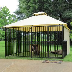 Not the worst place for a dog to be stuck outside on a hot sunny day. The Canine's Misting Oasis - Hammacher Schlemmer