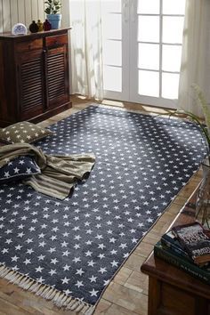 Multi Star Navy Rugs Cotton Rectangle/ Like us on Facebook! www.facebook.com/allysonsplacedecor / #Primitive / #Country
