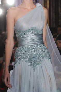 Zuhair Murad Spring 2013 - I like the shape of the beaded area and how these textures work together.