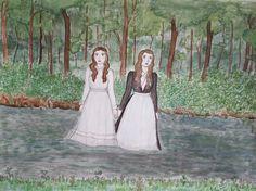 by Pearl Beerhorst - Original Drawing- River Girls