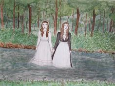 Original Drawing River Girls by PearlsRoom on Etsy, $75.00
