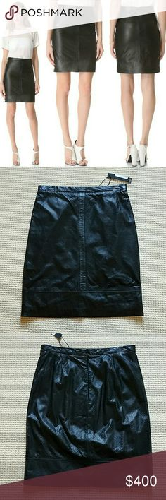 Tibi perforated leather pencil skirt size 4 NWT RARE Tibi perforated leather pencil skirt in black,  size 4. New with tags.  Never worn (just tried on). Bought this but then decided it's a little tighter than I like (I'm a 6). Such a gorgeous piece looking for a new home! Tibi Skirts Pencil