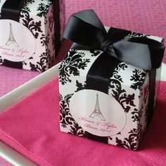Black and White Damask Cube Favor Box