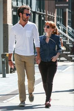 Jessica Chastain and Gian Luca Passi de Preposulo are seen in New York on August 25, 2014 in New York City.