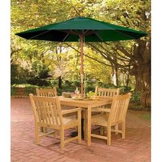 Bundle-28 Oxford Garden Classic Patio Dining Set with Umbrella (5 Pieces)
