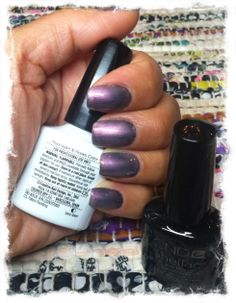 CND Shellac layered from bottom to top: Overtly Onyx (1 coat) and Moonlight & Roses (2 coats).