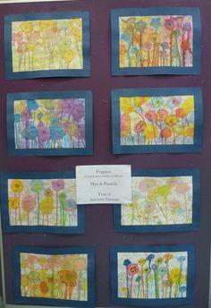 Poppies Created after studies of Monet Dye and Pastel Year 2