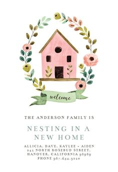 Bird House - Moving Announcement #announcements #printable #diy #template #Moving #newaddress #newhome Housewarming Invitation Templates, Free Printable Invitations Templates, Housewarming Card, Templates Free, Printables, Unique Invitations, Invitation Ideas, House Warming Ceremony, House Blessing