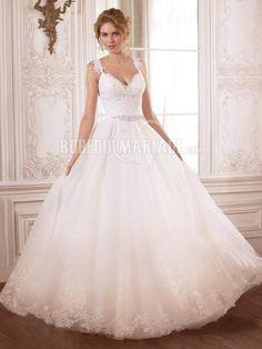 Traîne chapelle robe de mariée romantique bretelle fine dentelle organza [#ROBE2010337] - robedumariage.com