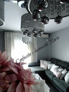 Cortinas salón moderno gris Rosa blanco