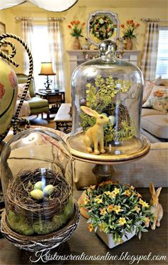 Stunning Easter Centerpieces and Table Decorations Spring Home Decor, Spring Crafts, Spring Decorations, Easter Table Decorations, Turkey Decorations, Hoppy Easter, Easter Bunny, Easter Eggs, Cloche Decor