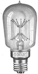 Tantalum filament light bulb, 1908, the first metal filament bulb | Incandescent light bulb - Wikipedia
