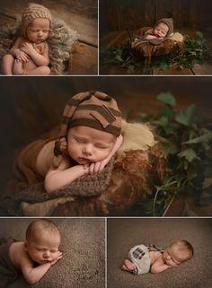 Newborn baby boy in brown, newborn photography, newborn posing