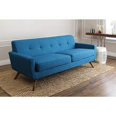 ABBYSON LIVING Bradley Petrol Blue Fabric Sofa | Overstock.com Shopping - The Best Deals on Sofas & Loveseats