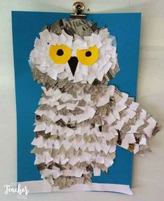 owl made it white copy paper and newspaper