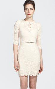 White Half Sleeve Scallop U Neckline Lace Bodycon Dress