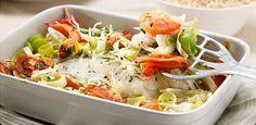 Kabeljauw ovenschotel met groenten, bieslook en rozemarijn