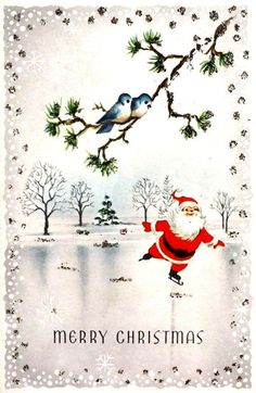 Vintage Santa Ice-Skating Card