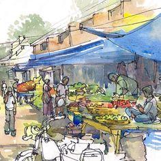 Il sagit dune esquisse dun typique marché indien ou Bazaar, un quotidien marché fermier, avec les vendeurs de fruits et de légumes assis sous des bâches en plastique bleus qui les protègent du soleil flamboyant. Jai esquissé ce marché à Bangalore, en Inde, avant lentrée la foule. Vendeurs figurant des monticules de tomates, les carottes, les verts et les bananes mûres et des sacs doignons et de pommes de terre en vue de la foule qui bientôt descendre sur eux, désireux de négocier et de…