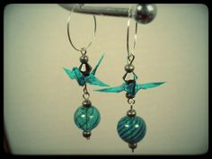 Origami Crane earrings blown glass beads by Fmoon Origami Jewelry  on Etsy, $21.99