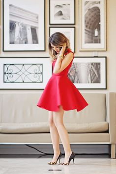 J'adore J. Crew | red dress with animal print heels