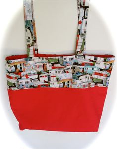 Hand made tote bag, Sisters on the Fly Tote bag, glamping bag, travel trailer bag red and RV print tote bag, large tote bag, red tote purse