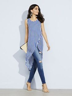 Striped hi lo wrap shirt Casual Summer Outfits, Cool Outfits, Fashion Outfits, Trendy Outfits, Trendy Professional Clothes, Blue Shirt Outfits, Designer Blouses Online, Mode Jeans, Moda Femenina