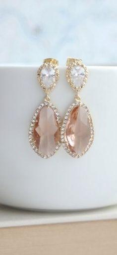 LUX Gold Plated Cubic Zirconia Peach Champagne Teardrop Earrings.