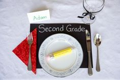 Back to school dinner: place setting ideas, pencil made with rolos and hershey kiss.