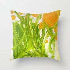 PiLLOW COVER - abstract painting - contemporary fine art - modern decor - flowers - orange green