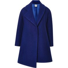 Opening Ceremony Cobalt Bonded Wool Amorphic Front Coat ($475) ❤ liked on Polyvore featuring outerwear, coats, blue coat, blue wool coat, long sleeve asymmetric coat, asymmetrical wool coat and opening ceremony coat