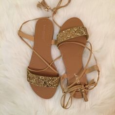Lace Me Up Gold Glitter Sandals Size 7.5! Beautiful Gold Glitter Tie Up Sandals with Tassel Detail. Faux Leather. Brand new in box. Super comfy. If you are between sizes, size up. Get it while it's available. No Paypal. No trades. 15% discount on all 3+ item bundles made with the bundle feature. No offers will be considered unless you use the make me an offer feature.      Please follow  Instagram: BossyJoc3y Boutique Shoes Sandals