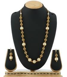 Buy Antique Pearl & Golden Ball Mala Necklace Fancy Jewellery necklace-set online