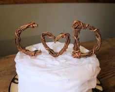 Rustic Wedding Cake Topper - Personalized Initials - Heart - Grapevine - Print Wrap Style