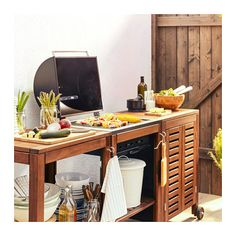 $327.00 ÄPPLARÖ / KLASEN Charcoal grill with cart & cabinet - brown stained - IKEA