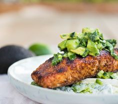 Grilled Salmon Salad with Avocado Salsa and Cilantro Lime Dressing can be made in 20 minutes!