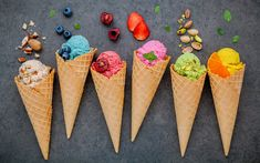 The ice cream cone comes in many different forms. There is the softer cone associated with soft serve; the harder, crunchier type; and everyone's favorite, waffle cones. These cones have an interesting history going back more than a century. Gelato Vs Ice Cream, Ice Cream Day, Ice Cream At Home, Make Ice Cream, Ice Cream Flavors, Ice Cream Maker, Homemade Ice Cream, Ice Cream Recipes, Low Calorie Ice Cream