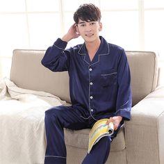 2019 Spring Summer Women Man Faux Silk Satin Pajamas Set 2 Pcs Long Sleeves Couple Sleepwear Pajamas Suit Shorts 13 M