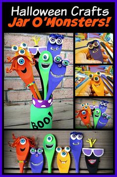 Fun to make Jar O Monsters made with wooden spoons!                                                                                                                                                                                 Mais
