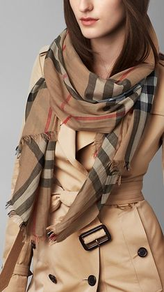 Lightweight Check Wool and Silk Scarf in Camel