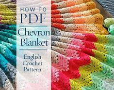 Crochet Pattern, pattern de quatre saisons Chevron couverture - prêt pour le téléchargement immédiat - par CrochetObjet