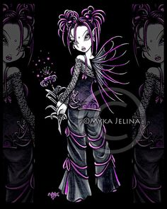 Gothic Fairy Pink Punk Flower Heather Art Print by MykaJelina