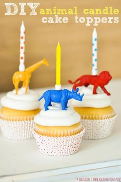DIY Jungle Animal Candle Cupcake Toppers! - karaspartyideas.com
