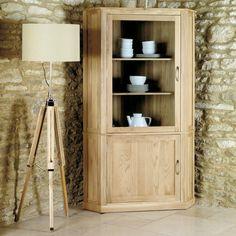 Mobel Solid Oak Large Corner Display Cabinet
