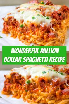 spaghetti recipes Million Dollar Spaghetti is a DELICIOUS easy dinner idea! The noodles are layered with a cheesy center and topped with a yummy homemade meat sauce and cheese. Diner Recipes, Beef Recipes, Chicken Recipes, Cooking Recipes, Beef Meals, Pasta Recipes, Million Dollar Spaghetti, Million Dollar Chicken, Healthy Diners